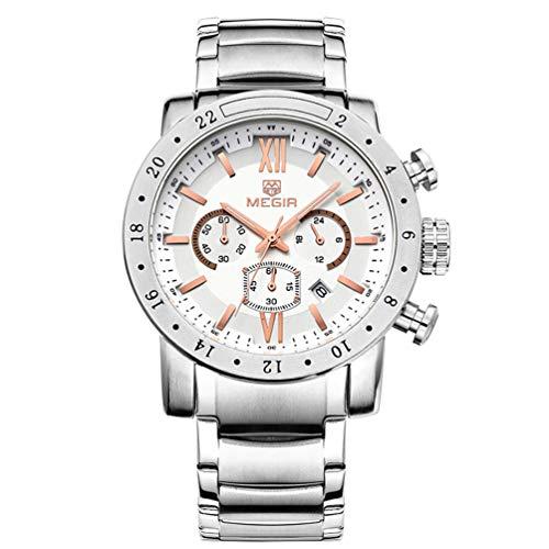 Herren Uhren Militär Chronograph Quarz mit Groß Silber Edelstahl Armband XL Rose Gold 3008