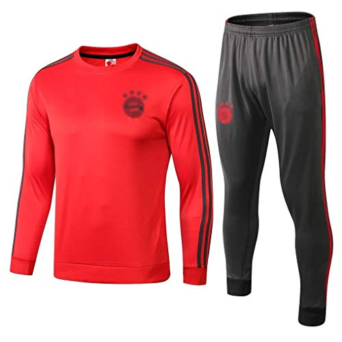 European Football Club Männer Fußball Langarm Sportbreathable Sport Red Trainings-Uniform (Top + Pants) -ZQY-A0981 (Color : Red, Size : XL)