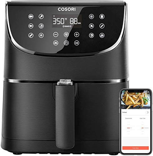 COSORI Smart WiFi Air Fryer 5.8QT(100 Recipes), 1700-Watt Programmable Base for Air Frying, Roasting & Keep Warm 11 Cooking Preset,Preheat&Shake Remind,Digital Touchscreen