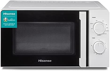 Hisense H20MOWS1HG - Microondas, Capacidad de 20 L, 700 W de Potencia, 900 W Grill, 5 Niveles, Temporizador 30 Min, Modo Descongelar, Tirador, Acabado Blanco