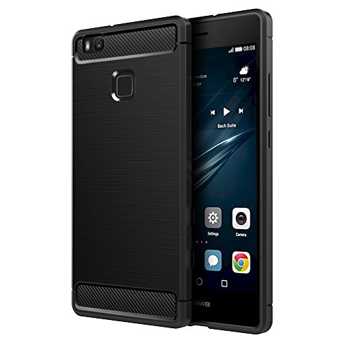Simpeak Funda Compatible con Huawei P9 Lite 5,2', Negro Funda Compatible con Huawei P9 Lite Carcasa Funda Suave Flexible Piel Silicona Protectora Compatible con P9 Lite