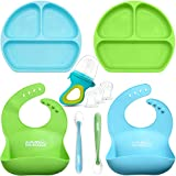 Lovely Minime Baby Feeding Set, Suction Plates for Toddlers, Fits Most HighChair Trays,Waterproof Adjustable Silicone Bib,Food Pacifier Feeder,Soft Tip Spoon,BPA Free Dishwasher/Microwave Safe