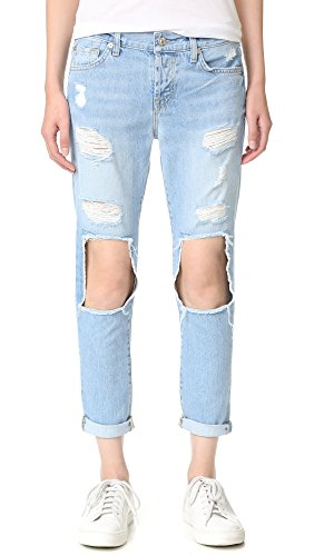 7 For All Mankind Women's Josefina Jean with Open Holes and Clean Back Pocket, Light Blue Cut Out and Peekaboo 2, 29