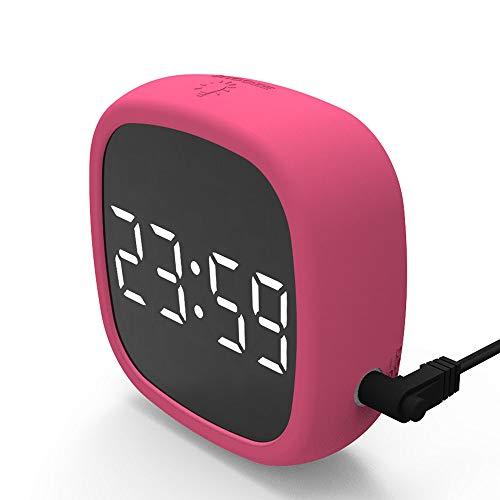 DXJ Wake Up Lichtwekker zonsopgang zonsondergang simulatie wekker met twee alarmen grote cijfers display spiegel tafelklok, LED digitale radiografische wekker klein stootvast rood