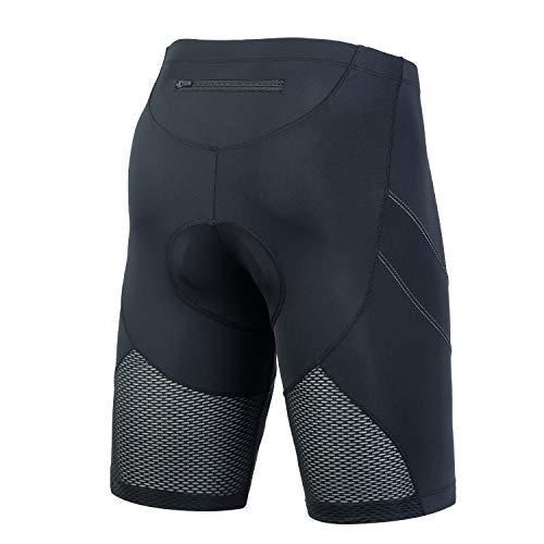Beroy, pantaloncini da ciclismo da uomo, imbottiti, a compressione, traspiranti, ad asciugatura rapida, Uomo, A1768-Nero, XXL