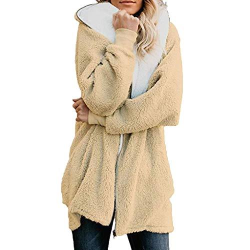 yazidan Damen Winter Warm Mantel, Fleece Wintermantel, Damen Plüschjacke Winter Mantel, Damen Winter Hoodies Strickjacke, Frauen Elegante Kapuzen-Jacke Outwear, Frauen Elegant Cardigan Kuscheljacke