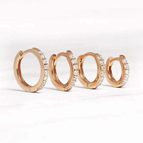 GoodLuck Pendientes de aro de Plata de Ley 925 auténtica para Mujer, Pendiente de círculo Redondo, Pendientes de perforación de circonita, joyería de Tendencia Personalizada