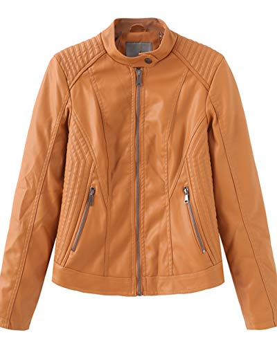 UR MAX BEAUTY Women's Faux Leather Fashion Racer Jacket,Motorcycle Clothing, Spring Autumn Slim Coat,Yellow,S