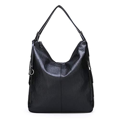 Damen Handtasche, Retro, große Kapazität, aus weichem Leder, Damen, Umhängetasche, hohe Qualität, große Kapazität, Schwarz (Schwarz) - 85jhgj