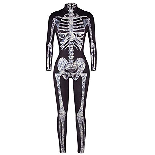 TUWEN Disfraces Chica Mujer Traje de Piel de Esqueleto Huesos Disfraz de Halloween Disfraz Mono