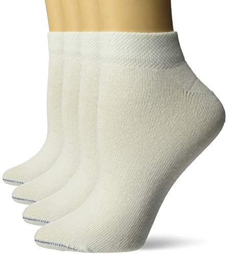 Dr. Scholl's womens 4 Pack Diabetic & Circulatory Non-binding Low Cut Casual Sock, Solid White, Shoe Size 4-10 US