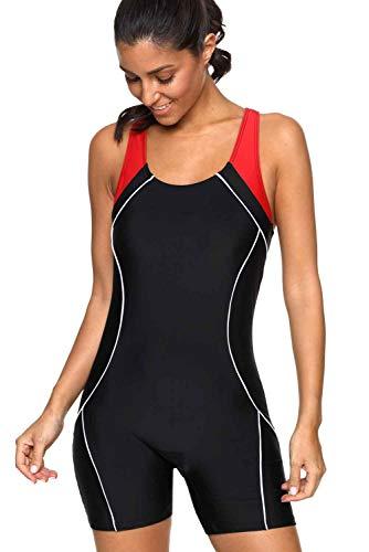 CharmLeaks Women Workout Boyleg One Piece Bathing Suit Active Swimsuit Black XL
