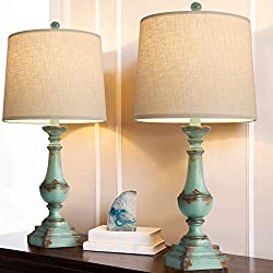 【Vintage Table Lamp Set of 2】: Each bedside lamp is crafted from resin, the green lamp body with beige linen shade to create a popular retro style. The simple and classic design add a traditional elegant look to your space. Perfect for any style of ...