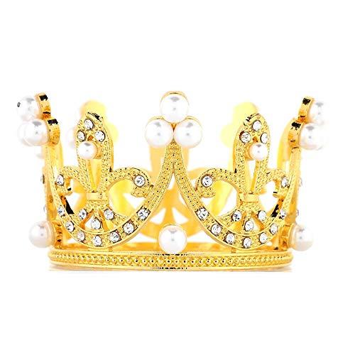 Topincn Mini Crown Cake Topper metalen parel tiara haaraccessoires voor bruiloft verjaardag party taart decoratie MEERWEG verpakking