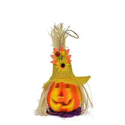 FOUWE Halloween Pumpkin Lights Intermitente, ahorro de energía, decoraciones de otoño con sombrero de paja, adecuado para festivales, fiestas, familias