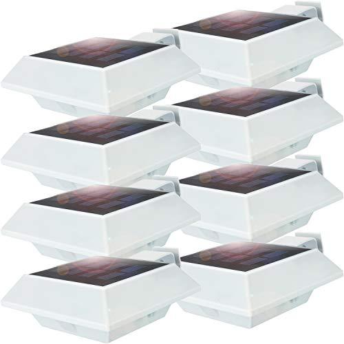 Uniquefire Weiße Solarlampe 12 LEDs Dachrinnen Außenlampe Leuchte Wandlampe Solar Kaltweiße Licht für Garten, Terrasse, Fahrtweg, Höfe, Traufen (8 STK.)