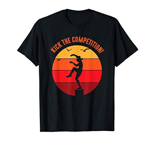 Karate Teen Kid Vintage Sunset On Pacific Ocean Beach T-Shirt
