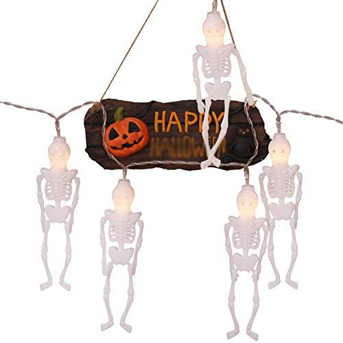 Abenily - Linterna LED para Halloween, decoración al aire libre, diseño de esqueleto con batería