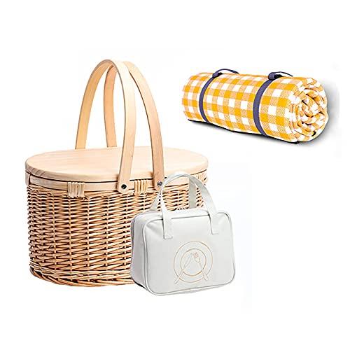 GZP Juego de canastas de Picnic para 2 Personas de bambú Tejido Natural con asa Plegable La Canasta de Pascua Incluye Accesorios, Bolsa para Guardar Cubiertos y Manta