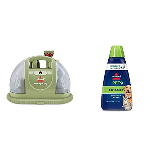 Bissell Multi-Purpose Portable Carpet and Upholstery Cleaner, 1400B, Green with Bissell 74R7 Pet Stain & Odor Portable Machine Formula, 32-Ounce, Fl Oz