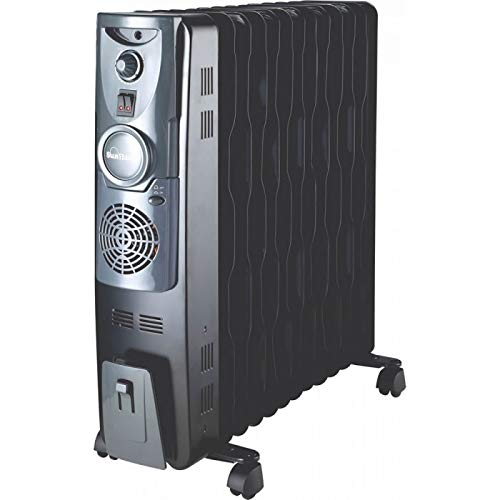 Sunflame 13 Fin Oil Filled Radiator Heater with Fan (Black)