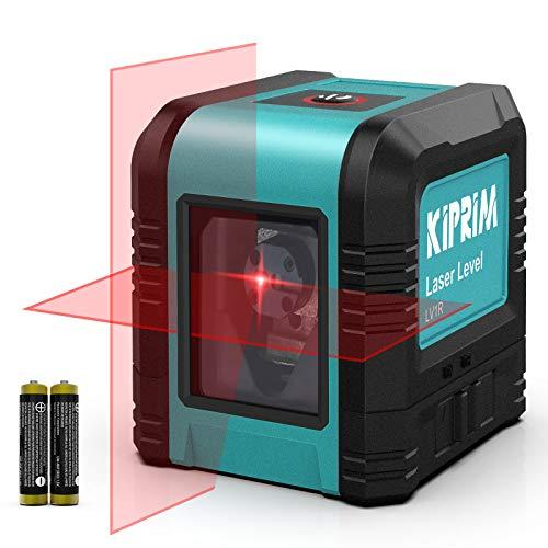 Livella Laser Autolivellante, Kiprim LV1R Cross Livella Laser Modulo Doppia Linea Verticale/Orizzontale Laser, IP54 Antipolvere, Impermeabile, Anti-Goccia da 1 m, ±4° Livellamento Automatico
