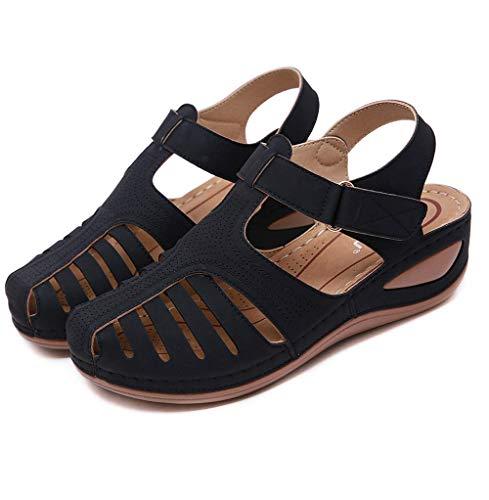 MIAOXIAO Femmes Sandales Confort Plates Cuir Chaussures Été Chaussures de Marche Tongs Sandales de Sport d extérieur,B,43