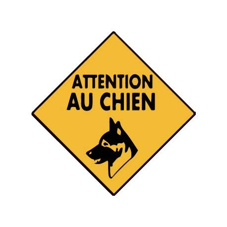 Attention au chien autocollant sticker adhesif 4 - Taille : 4 cm