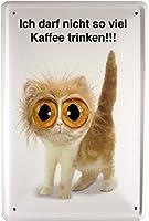 'ドイツ語のテキストが付いた小さな猫メタルサイン'私はコーヒーをあまり飲みません広告デザイン20 x 30 cm 1234