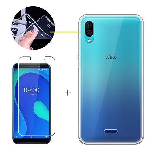 LJSM Hülle für Wiko Y80 + Panzerglas Bildschirmschutzfolie Schutzfolie - Transparent Weich Silikon Schutzhülle Crystal Flexibel TPU Tasche Hülle für Wiko Y80 (5.99