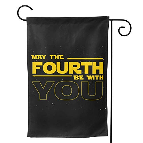 Lplpol May The 4th Be with You Garden Flag, Vertical Double Sided Polyester Yard Flag Banner Lawn Outdoor Decoration, 12x18 Inch, M523