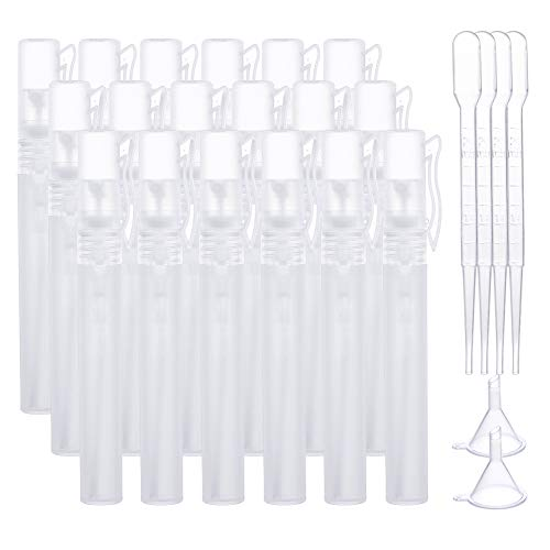BENECREAT 20PCS 10ml Mini Botella Spray Blanca de Plástico Esmerilado Juego de Botella Vacía en Forma de Bolígrafo con 2PCS Embudos, 10PCS Goteros para Cosméticos, Perfumes
