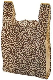 "100 Leopard Print Plastic T-Shirt Bags 11 ½"" x 6"