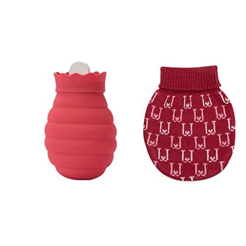 HYAN Botella de Agua Caliente Botella Microondas Calefacción Agua Caliente Silicona Desmontable de Punto Cubierta de Agua Caliente Bolsa de Gran for el Calor calambres menstruales (Color : Red)