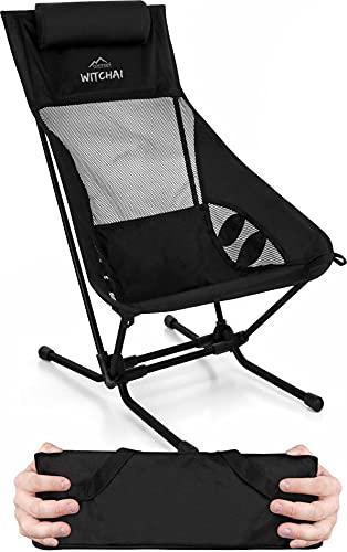 normani Strandstuhl klappbar Ultraleichter Campingstuhl faltbar Beachchair bis 150 kg - EXTREM kleines, leichtes Packmaß Farbe Schwarz