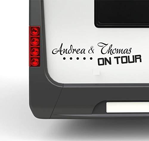 Pegatina Promotion Wohnmobil Wohnwagen Aufkleber Wunschnamen on Tour Typ2 ca 40cm mit Sternen personalisierbar Sticker Autoaufkleber