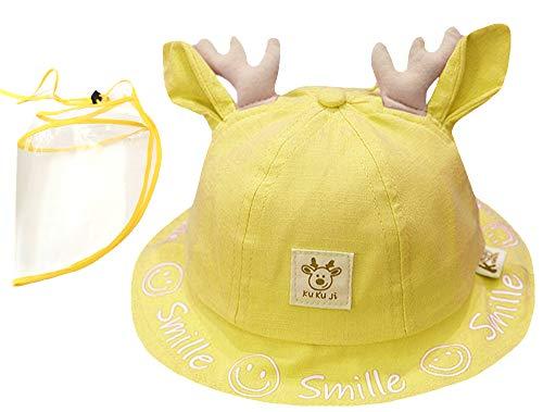 Keleily Sonnenhut Baby Mädchen UV Schutz Fischerhut Kinder Fischerhüte Kinder Baby Face Shield Hat Anti-Spuck-Baby-Sonnenhut mit Gesichtsschutz und Streifen Außenhut Staubdicht Winddicht, Gelb
