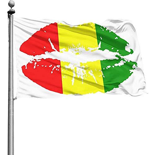 Qinzuisp Garden vlag Reggae Rasta Lips buitenvlaggen Courtyard Garden duurzame balkonterras 150X90Cm Yard Banner