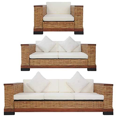 vidaXL Sofagarnitur 3-TLG. mit Auflagen Sofa Couch Sessel Loungesofa Sitzmöbel Wohnzimmersofa Rattansofa Couchgarnitur Designsofa Braun Natur Rattan