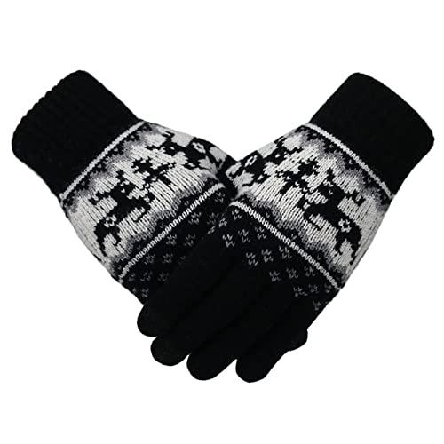 UKKO Mujeres Invierno Guantes Invierno Mujeres Guantes De Punto Ciervos De Navidad Moda Forma Dedo Mittens Mujer Suave Patrón De Navidad Pantalla Táctil Guantes De Punto-Black,One Size
