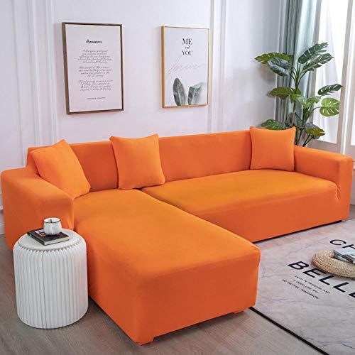 B/H Sofabezug Stretch Sofahusse,Für Wohnzimmer Elastic Spandex Couch Bezug Stretch Sofa Handtuch L Shape-Orange_190-230cm,Sofaüberwürfe für L-Form Stretch