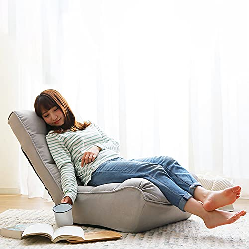 Indoor Chaise Lounge Chair, 3 Angles Adjustable Floor Chair, Folding Lazy Sofa Couch for Teens and Adults, Cushion Padded Comfy Chair for Living Room and Bedroom (Light Grey)