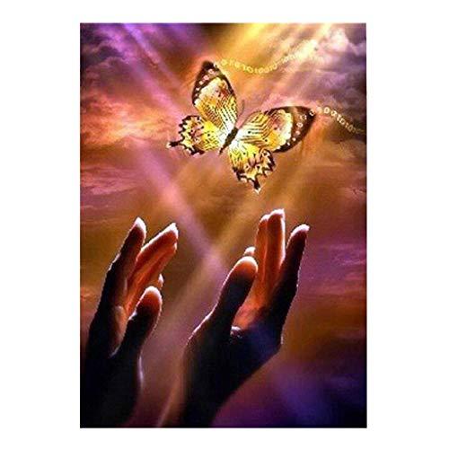 YWLINK Pintura de diamante de mariposa 5D Bordado Rhinestone Bordado Pintura Diy Diamante Pintura Punto De Cruz Taladro Completo (Multicolor, 1)