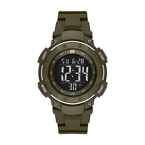 Skechers Reloj de cuarzo para hombre con correa de poliuretano, verde, 27 (Modelo: SR1126)
