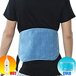 REVIX Lower Back Heating Pad with Hot Cold Ice Gel Pack and Adjustable Belt, Electric Heat Wrap for Waist Lumbar Stomach and Shoulder Pain Relief, UL Listed, Blue