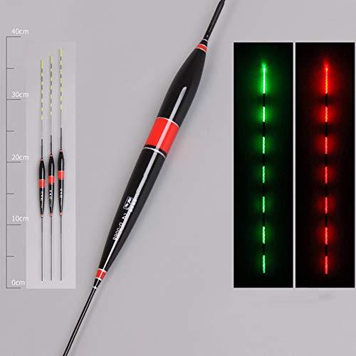 LED Smart Luminous Fish Float,Posen Angeln Set, für Salzwasser Felsen Angelposen Nachtangeln Leuchtpose, Biss Haken Farbwechsel Nachtfischen Float (rot,3 PCS)