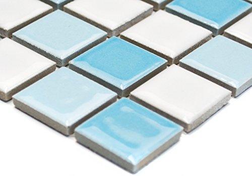 Mosaik Quadrat mix blau/weiß glänzend Keramik Mosaik, Mosaikstein Format: 2,5x2,5x6 mm, Bogengröße: 330x302 mm, 1 Bogen/Matte
