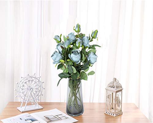 Hawesome – 6 flores artificiales de seda clásicas de rosas artificiales, 12 botones, decoración de arreglos florales…