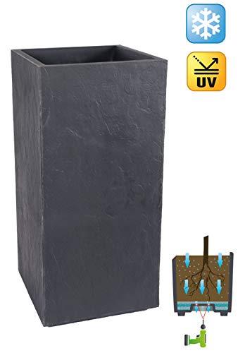 Kreher XXL Design Pflanzkübel Stone aus Kunststoff. Hochwertige Stein-Optik in Anthrazit. Maße BxTxH in cm: 40 x 40 x 80 cm. 31 Liter Volumen!