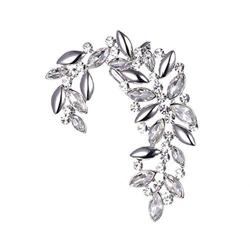 UBL PULABOSimple Style Orecchini a forma di foglia di moda in lega di diamante a forma di C orecchini gioielli accessori donna ragazza festa decorazione